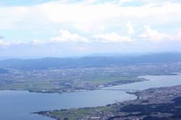 びわ湖バレイから見る琵琶湖大橋
