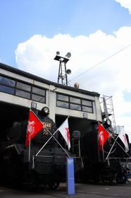 頭出し展示されている梅小路の蒸気機関車