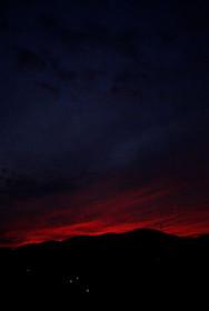 左大文字の向こうの夕焼け空