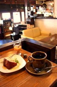 さらさ西陣マロンケーキとホットコーヒーのセット