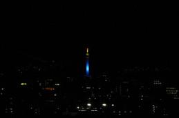 京都タワーLED点灯式 青