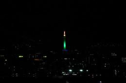 京都タワーLED点灯式 緑
