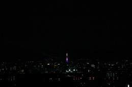 京都タワーLED点灯式 ピンク