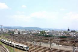 京都鉄道博物館から見る京都駅の方向