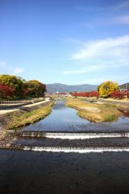 北山大橋から上賀茂橋方面を眺める